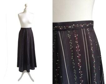 Vintage Maxi Skirt - 70's Skirt - Evening Skirt - Long Charcoal Grey Black Floral Skirt - Semi Sheer Black Skirt - XS Small
