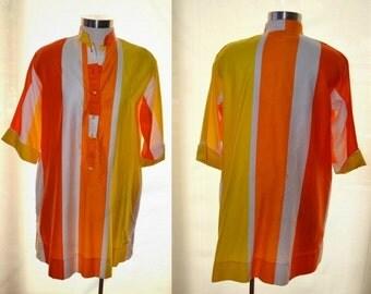 Orange and Yellow Striped Dress, Katherine Ogust Dress, Vintage Dress, 70's Dress, Penthouse Gallery Women's Dress, Mad Men