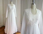 1970s White Wedding Dress - Cape Train - 70s - Snow White - Accordian Pleats - Applique Floral - Long Sleeve - Modest Wedding Gown