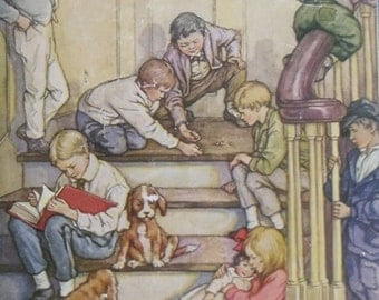 Vintage Childrens Book - Little Men, Louisa May Alcott, Illustrations by Clara M. Burd, John C. Winston 1928