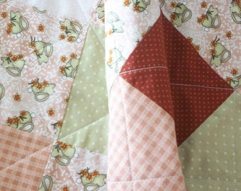BABY GIRL QUILT, bunnies, pink, green