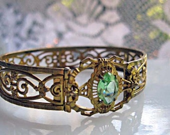 Edwardian Filigree Bracelet, Peridot Glass, Hinged Gold Rhodium Cuff, Green Marquis Stone, Signed, Patent Date, August Birthstone