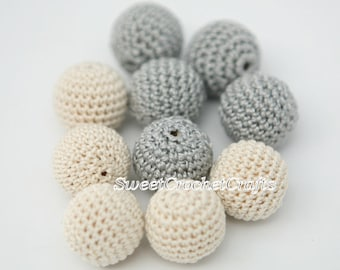 """Crochet beads 5 PCS 3/4"""" 20 mm Grey tones Wooden crochet cotton beads Crocheted bead Round beads Necklaces"""