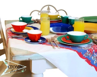 Hazel Atlas Platonite Moderntone Carnivaleware - Primary Dinnerware 37 Total Pieces