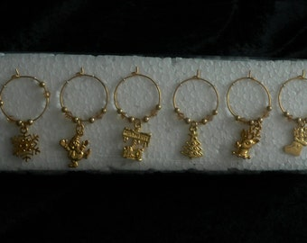 Set of 6 Christmas Gold Coloured Wine Glass Charms with Topaz and Gold adjoining beads