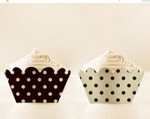 80% OFF Cupcake Wrappers Printable Black Liners Retro Polka Dots Holders DIY Set 12/15