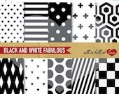 80% off BLACK White Paper Background DIGITAL Scrapbooking Geometric Patterns 12/15