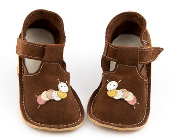 """Red-brown suede slippers """"Caterpillar"""", rubber sole, velcro fastening, support barefoot walking, sizes EU 16 to 24 - US 2 to 7.5"""