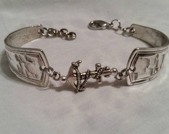 Spoon Bracelet, Anchor, Silverware Jewelry, Vintage