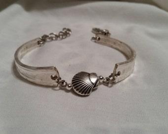 Shell Spoon Bracelet, Silverware Jewelry, Spoon Jewelry, Vintage