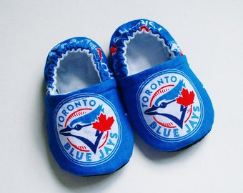 Toronto Blue Jays baby shoes/slippers.  Cotton and flannel.  Grip tight soles. Made to order.