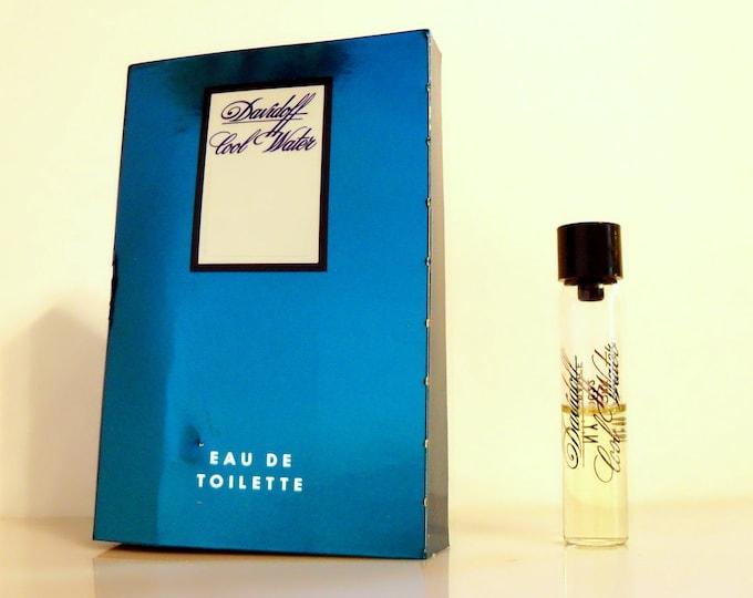 Vintage 1980s Cool Water by Davidoff 0.1 oz Eau de Toilette Sample Vial on Card COLOGNE