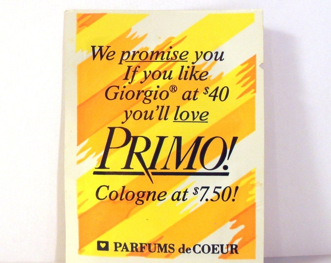 Vintage 1980s Primo by Parfums de Coeur Cologne Sample Packet PERFUME