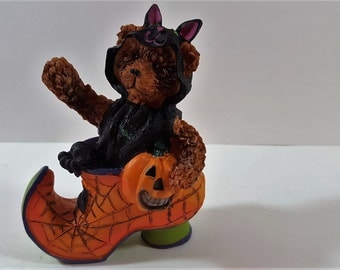 Halloween Teddy Bear figurine popping out of shoe