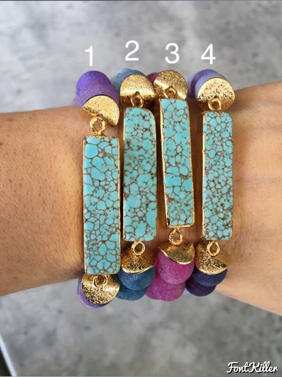 Howlite Turquoise Agate Bracelets