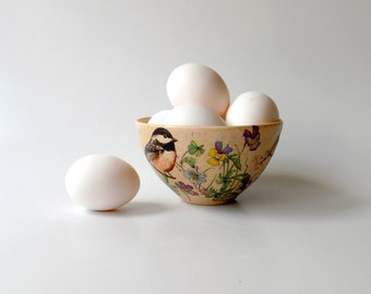 Ceramic Bowl in Cream with Chickadees and Pansy Flowers, Pottery Cereal Bowl, Ice Cream Bowl, Serving Bowl by Cecilia Lind, StudioLInd