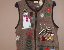 Cozy Cottage Knit Ugly Christmas Vest