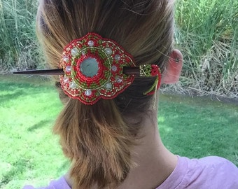 """Hand Beaded Red and Green """"Salsa"""", Glass bead, Barrette (014H)"""