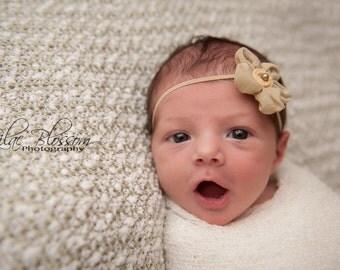 Green Ballerina Bloom Baby Flower Headband, Newborn Headband, Baby Girl Flower Headband. Photography Prop