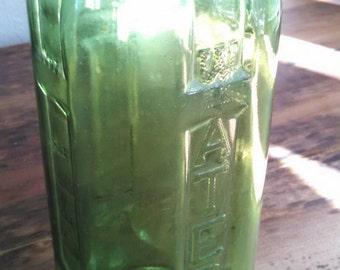 Vintage Green Glass water bottle ,  vintage Ocean Spray bottle , farmhouse decor , green glass juice bottle