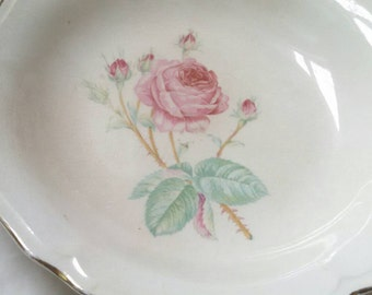 Vintage ceramic bowl , mid century Edwin Knowles bowl ,  Kno178 rose pattern soup bowl , ceramic floral plate