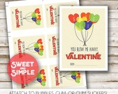 You Blow Me Away Valentine, Kids Valentine's Day Card, Boy, Printable Candy Tags, Bubbles, Unique