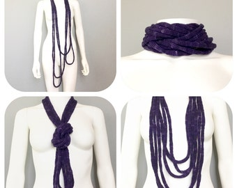 Deep Purple Wool Cowl Infinity Neck Warmer Scarf Knitted Necklace French Knit Multifunctional Accessory Knitted I Cord Stocking Stuffer