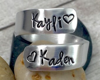Best Friend Christmas Gift - Name Ring - Personalized Ring - Thumb Ring - Mom Ring - Mother Ring - Mommy Ring - Wrap Ring - Hand Stamped