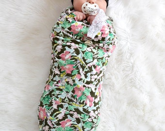 Baby girl floral blanket. Handmade. Swaddle wrap. Soft and stretchy knit fabric. Blanket size: Size 45 by 45 inches. By Lippy brand. Girl.