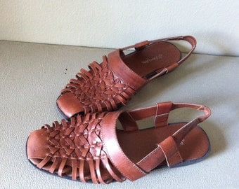 SALE huarache slingback sandals, brown leather. women's 8