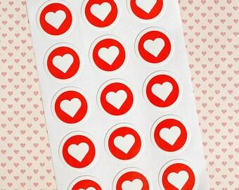 15 heart stickers