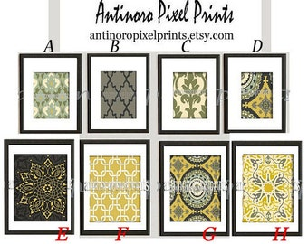 Art Damask Greens Yellow Creme ikat Damask inspired Wall Art Prints Collection  -Set (8) Prints, 8x10, 5x7 Prints - (UNFRAMED)