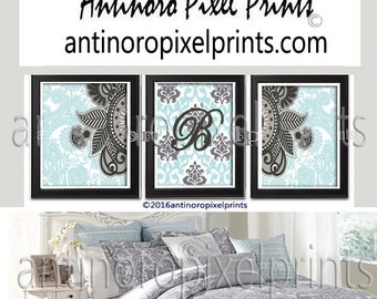 Damask Personalized Letter, Wall Art Prints Blue Charcoal Greys Wall Art Set of (3) Prints - (UNFRAMED) Custom Colors Sizes Available