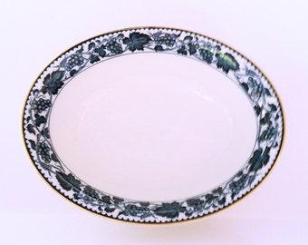 Vintage Double Phoenix Nikko Ironstone Oval Bowl Gold Rim, rare to find Blue Grape pattern N.K.T. Japan, vegetable serving bowl kitchenware