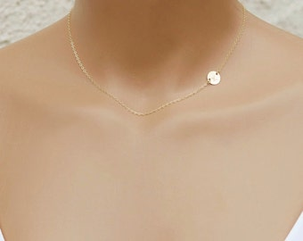 Gold Disc Necklace, Initial Necklace, Choker Necklace, Personalized Necklace, Bridesmaid Gift, 14k Gold Filled, Rose Gold, Sterling Silver