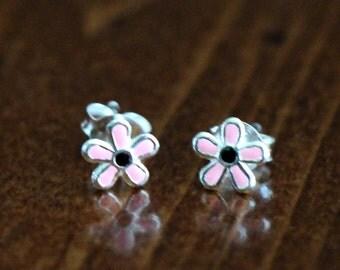Pink Flower Stud Earrings- Sterling Silver- little Girl Earrings- Flower Girl Gift- Daisy Flower- Stocking Stuffer