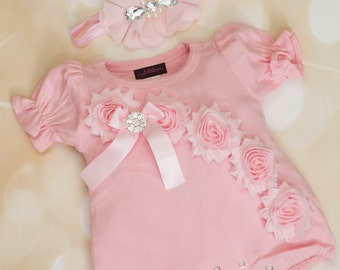 Pink Baby Girl Romper Set Infant One Piece Set Bubble Romper with Shabby Chiffon Flowers and Headband