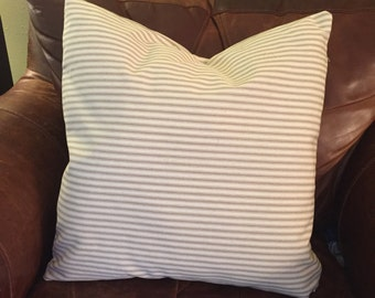 Farmhouse pillow cover  khaki ticking beige stripes 20x20 inch pillow cover French country cottage chic