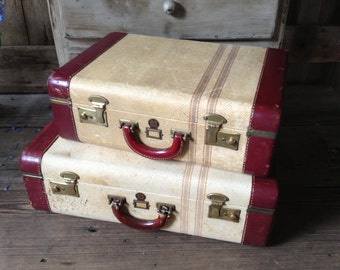Leather and Tweed Pinstriped Suitcase Matching Set of 2