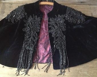 Black Velvet Capelet Elaborate French Jet Beads Cape 1800s Victorian