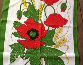 Irish Linen Kitchen Tea Towel Table Runner Mat Poppies Corn Red Yellow Green Country Farmhouse