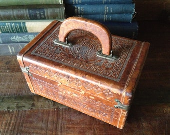 Tooled Leather Jewelry Box, Suitcase Cosmetic Case Train Case c 1950s