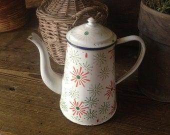 French Enamel Coffee Pot, White Green Chippy Pastel French Farmhouse, Art Deco Atomic Art Starburst