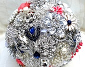 RESERVED for Janette BALANCE Payment CUSTOM Brooch Bouquet Coral Navy White Crystal Bridal Wedding Jeweled Bouqet