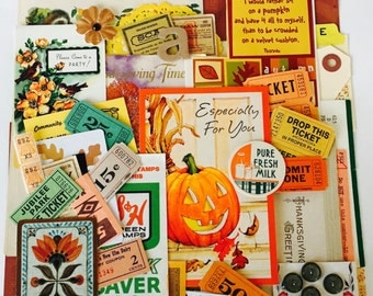 Fall Scrap Pack / 45 pc. Vintage Autumn Scrap Pack DIY KIT Great for Altered Art, Mixed Media, Life Journals, Cards, Smash Books, etc.