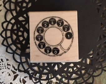 Retro Phone Dial Rubber Stamp by Stampabilities / NEW Vintage Style Dial Phone Pad Stamp