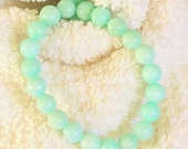 Pastel teal, turquoise, light Amazonite color Jade 8mm beaded gemstone, stretch, stacking, healing, girls, baby, unisex bracelet   SSB014