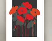 Midcenury Floral Print, Red Poppies, retro Eames era, mid-century modern, Poppies, Pop art style, giclee art print