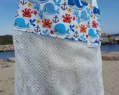 Blue and white whale print sea shell mesh collecting bag