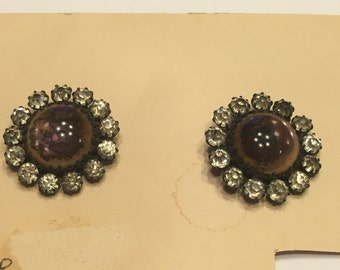 set of 2 vintage Rhinestone button, 22 mm (A11/2)